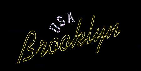 neon brooklyn new york USA sign  Stock Photo