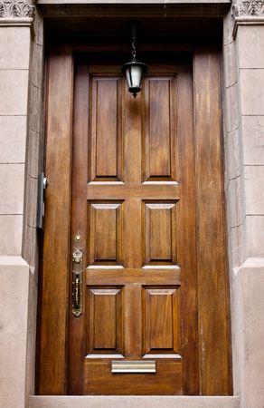 hinged: wooden front door