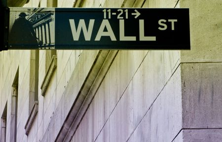 wall street sign on split tone photo