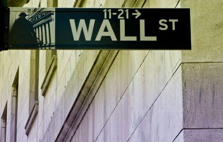 wall street sign on split tone Stock Photo