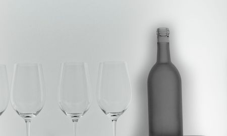 frosted glass wine bottle and 3 glasses