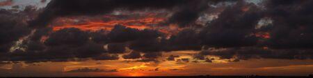 panorama of a beautiful and spectacular sunset