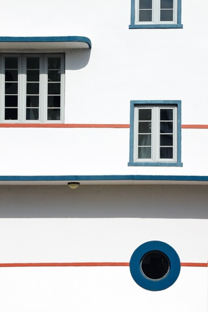 timeshare: windows on the side of Art Deco buildings in Miami, USA