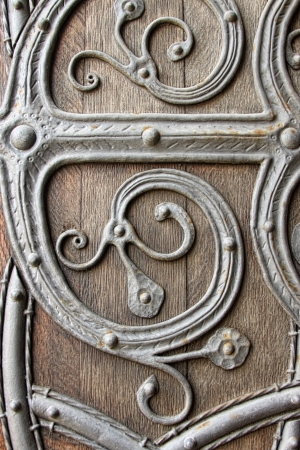 medieval scroll: close up of medieval door  Stock Photo