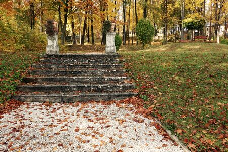 Stone stairs in autumn season