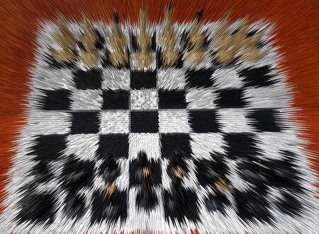 Chessboard with figurines in abstract form