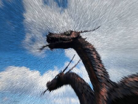 A majestic dragon with two heads in the clouds
