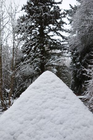 Snowy pyramid in nature