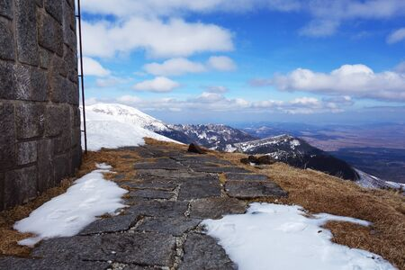 Built stone pavement in the mountains 写真素材