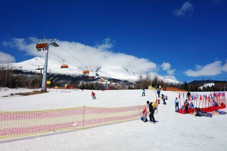 Downhill skiers in the Tatras