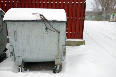 Snowy container for garbage