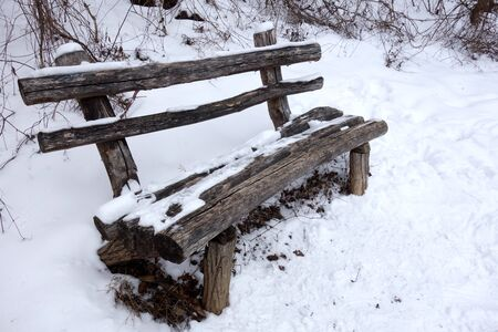 Snowy bench in nature