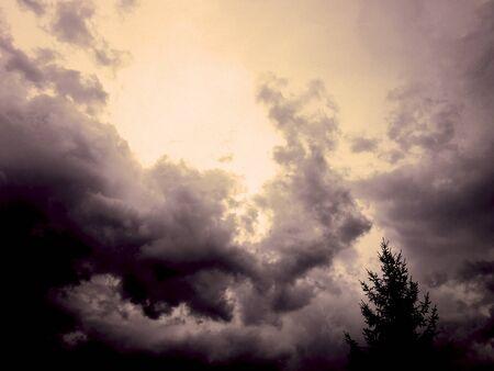 Menacing storm clouds bring rain Stock Photo