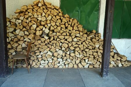 Chopped wood stacked