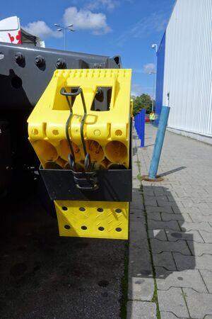 Yellow plastic brake for truck Foto de archivo - 133336412
