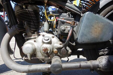 The original engine of a historic motorcycle