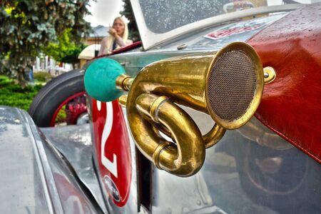 Trumpet on historic car