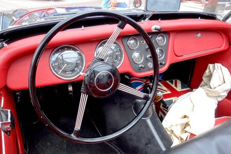 Steering wheel on historic car