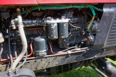 Side view of the tractor engine compartment