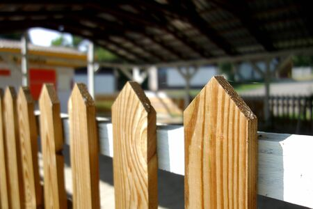 Detail view of a wooden fence