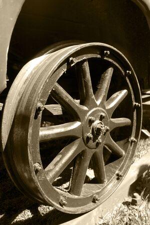 Passenger car wheel on rail 写真素材 - 136196186