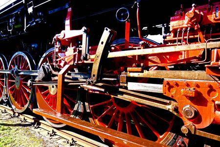 Steam locomotive chassis.