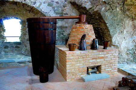 Historic distillery in the castle Stockfoto - 133183581