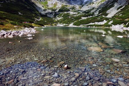 Water surface and bottom of Strbske Pleso