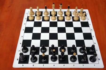Chess pieces on chessboard.