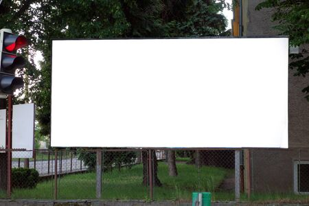 Billboard with white blank area 写真素材 - 137666120