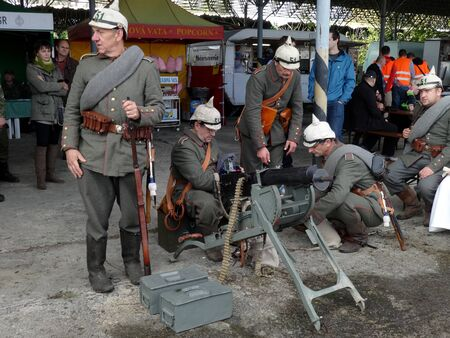 Humenné, Slovakia - OCTOBER 10, 2014: Demonstration battles by over Carpathians 19141915 by the Humenne from terms first world wars, Austro - Hungarian military by the machine gun.