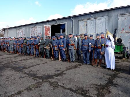Humenné, Slovakia - OCTOBER 10, 2014: Reconstruction of the fighting for Humenne. Karpaty 19141915.