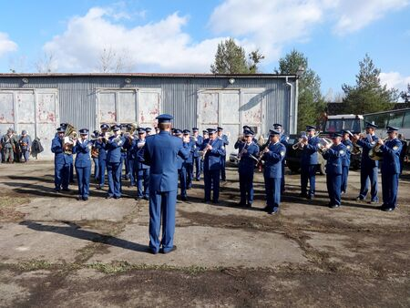 Humenné, Slovakia - OCTOBER 10, 2014: Reconstruction of the fighting for Humenne. Karpaty 19141915. Performance of military band