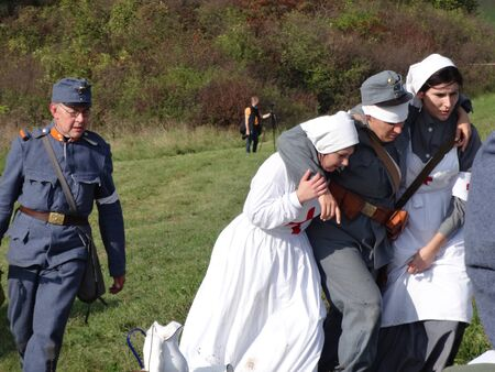 Humenné, Slovakia - OCTOBER 10, 2014: Reconstruction of the fighting for Humenne. Karpaty 19141915. Military field hospital 報道画像