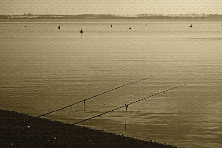Fishing in the winter Banque d'images