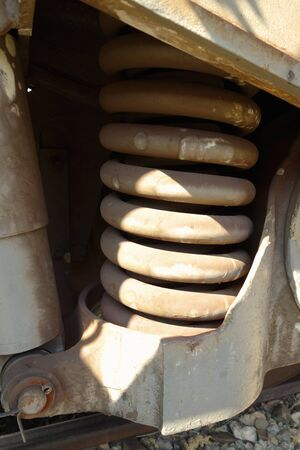 Metal spring of locomotive bogie wheel