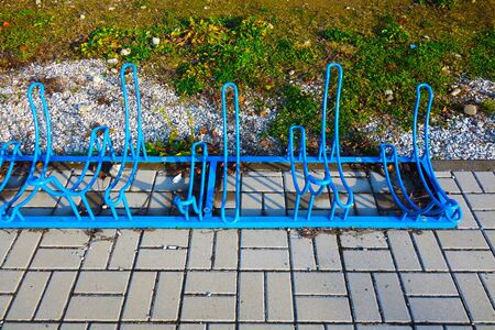 Metal bicycle stand in the city 写真素材 - 138038636