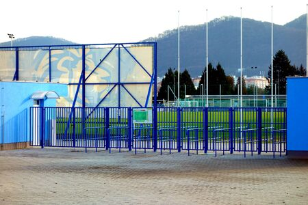 Entrance gate to football field 写真素材