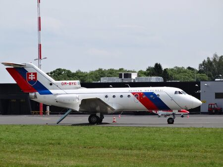 Poprad, Slovakia - July 29, 2014Reigns aircraft JAK- 40 OM- BYL at the airport on Aviation Day.