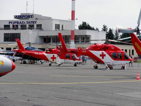 Poprad, Slovakia - JULY 29, 2014: Helicopters rescue services on air show.