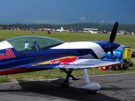 Poprad, Slovakia - JULY 29, 2014: Aerobatic aircraft Red Bull on air show in the Poprad