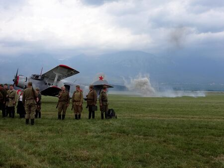 Poprad, Slovakia - JULY 29, 2014: Demonstration battles from tide of battle World War II on air show at the airport Poprad 報道画像