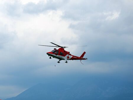 Poprad, Slovakia - JULY 29, 2014: Demonstration stocks rescue helicopter on air show. 報道画像