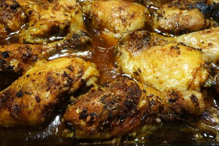 Roasted chicken legs with crispy skin