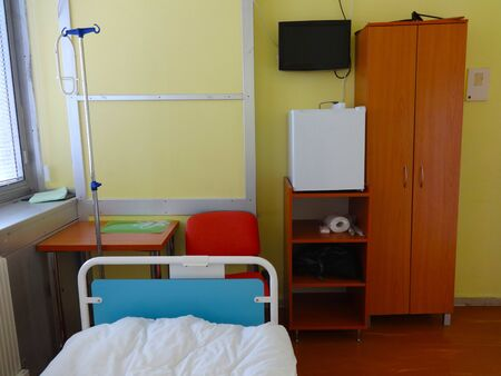 Hospital room with bed for patients