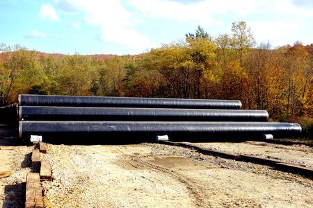 Gas pipelines ready for connection and burying into the ground for the transport of natural gas