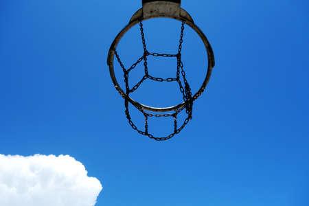 Detail of a beach basketball hoop