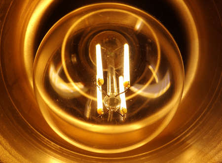 Detailed view of a light bulb in a lamp