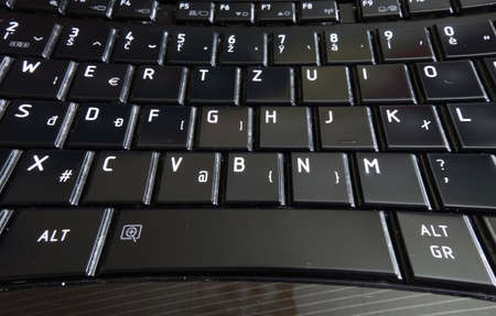 Laptop keyboard with buttons in black