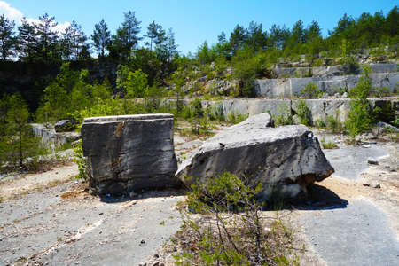 Old abandoned and protected travertine quarry Dreveník Slovakia, allegedly mined stone for the construction of Spiš Castle